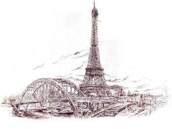 IN CREATION - carnet de voyages - tour eiffel - Papier Peint Panoramique
