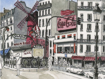 IN CREATION - carnet de voyages - moulin rouge - Papier Peint Panoramique