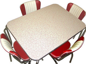 US Connection - set diner : chaises malibu rouge et table premium - Coin Repas