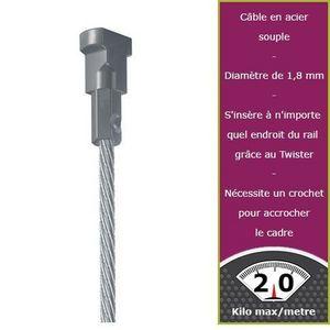 DECOHO - 150 cm câble acier embout twister newly - Tringle D'accrochage Tableau