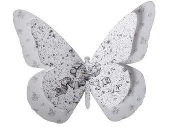Mathilde M - papillon double � pince ch�rubins - D�coration Murale