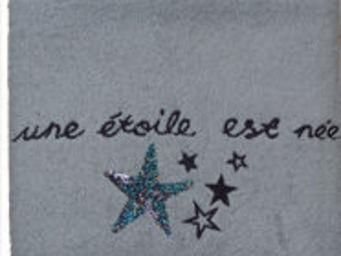 SIRETEX - SENSEI - drap de douche 70x140 brodée 500 gr/m² star gris - Serviette De Toilette Enfant