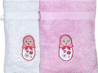 SIRETEX - SENSEI - gant eponge brodée matriochka 550gr/m² coton - Gant De Toilette