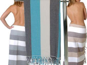 SIRETEX - SENSEI - drap de bain fouta 100x200cm coton miramare - Drap De Bain