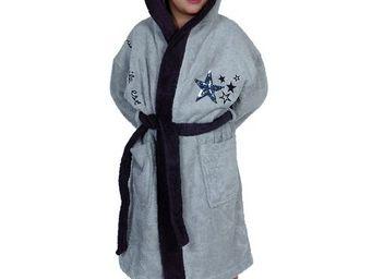SIRETEX - SENSEI - peignoir enfant bicolore capuche star gris - Peignoir Enfant