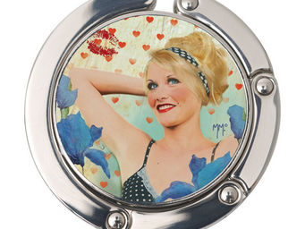 Orval Creations - porte-sac rond pin-up tr�s fleur bleue - Accroche Sac