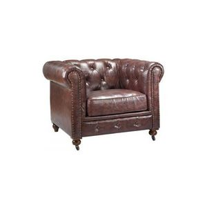 DECO PRIVE - fauteuil chesterfield 1 place en by cast cuir - Fauteuil Chesterfield