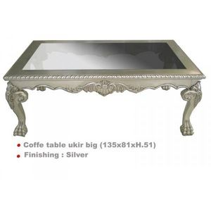 DECO PRIVE - table basse baroque argentee 135 x 80 cm ukir - Table Basse Carrée
