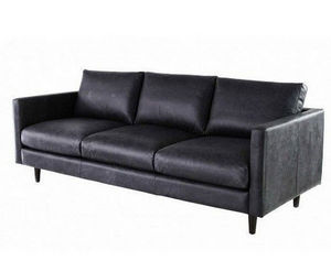 DECO PRIVE - canape 3 places cuir vachette noir - kaarl 3 - Canap� 3 Places