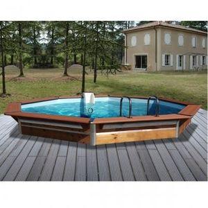 Christaline - piscine bois octogonale deluxe gold 460x147 cm - Piscine Hors Sol Bois