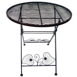 WHITE LABEL - table ronde pliable en métal style romantique - Table De Cuisine