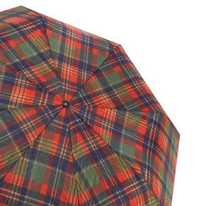 WHITE LABEL - parapluie pliant mixte manche en bois imprimé écos - Parapluie