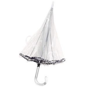 WHITE LABEL - parapluie cloche femme avec biais manche canne en  - Parapluie