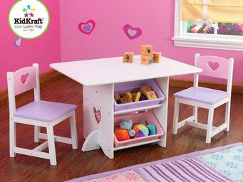 KidKraft - salon pour enfant table et chaises coeurs en bois - Table De Jeux Pour Enfant