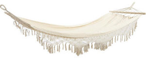 Aubry-Gaspard - hamac � franges en coton �cru 300-200x100cm - Hamac � Barres