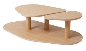 MARCEL BY - table basse rounded en chêne naturel 119x61x35cm - Table Basse Forme Originale