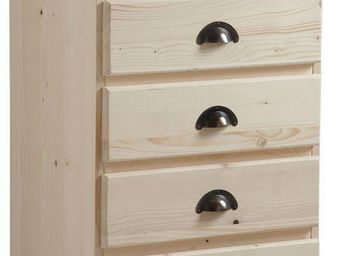 BARCLER - chiffonnier en bois brut 5 tiroirs 53x92x40cm - Semainier