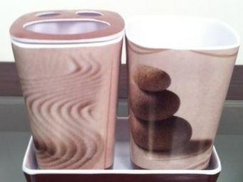 Cm - pot de salle de bain zen - couleur - beige - Porte Brosses � Dents