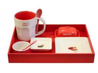 Cm - plateau petit d�jeuner - couleur - rouge - Service Petit D�jeuner