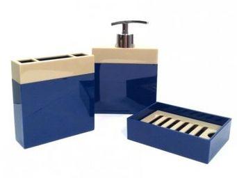 Cm - pot de salle de bain design - couleur - bleu - Accessoire De Salle De Bains (set)