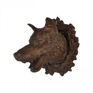 Demeure et Jardin - tête de loup - Sculpture Animalière