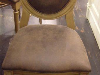 PROVENCE ET FILS - chaise cotton palmette / assise & dossier cuir vie - Chaise M�daillon