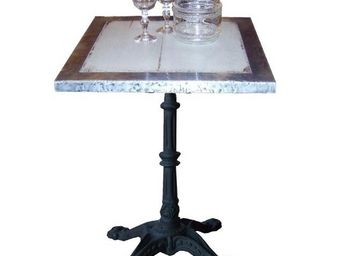 PROVENCE ET FILS - table armagnac 60*60 *h76 /plat patin�+bord zinc / - Table Bistrot