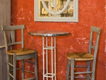 PROVENCE ET FILS - table haute tapas /haut 120cm plateau zinc rembord - Mange Debout