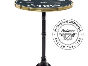 Ardamez - table de bistrot �maill�e anthracite / laiton - Table Bistrot