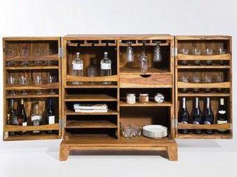 WHITE LABEL - mini bar wood 2 portes - Meuble Bar