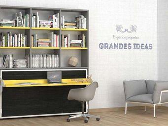 WHITE LABEL - armoire lit transversale ares grise et jaune avec - Lit Escamotable