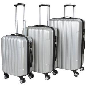 WHITE LABEL - lot de 3 valises bagage rigide gris - Valise À Roulettes