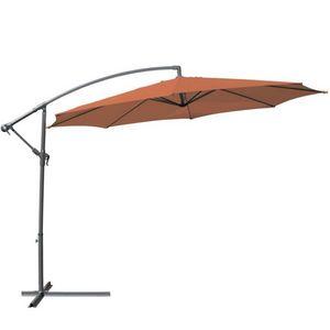 WHITE LABEL - parasol d�port� de 3,5 m orange + housse - Parasol Excentr�
