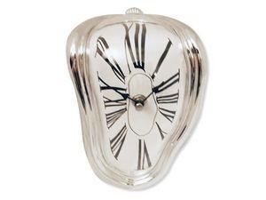 WHITE LABEL - horloge argentée effet fondant deco maison design  - Horloge À Poser