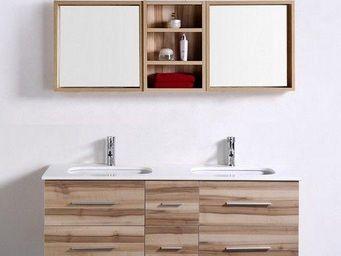 UsiRama.com - meuble salle de bain double vasques saunature 1.4m - Meuble Double Vasque