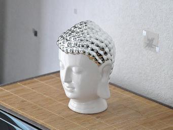 ZEN LIGHT - tête bouddha en céramique et chrome 13x13x20cm - Fontaine D'intérieur