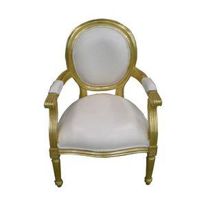DECO PRIVE - fauteuil style louis xvi cabriolet doré et imitati - Fauteuil Médaillon