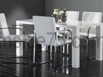 WHITE LABEL - table de repas glossy laqu�e blanche - Table Basse Relevable