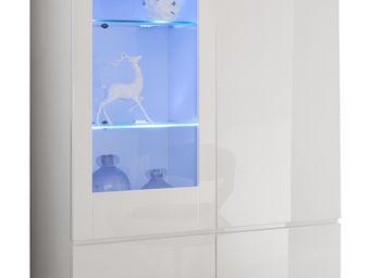 WHITE LABEL - vitrine 2 portes avec �clairage led et pied chrom� - Vaisselier
