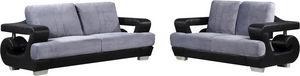 WHITE LABEL - ensemble canapé en tissu ultra design 3+2 gris et  - Salon