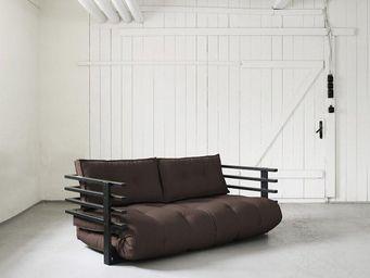 WHITE LABEL - canapé convertible noir funk futon marron couchage - Lit D'appoint Gonflable
