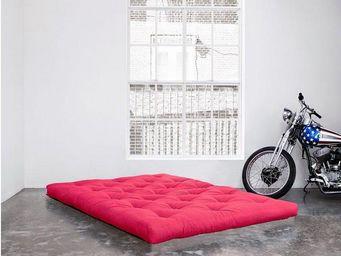 WHITE LABEL - matelas futon confort rose 100*200*15cm - Futon