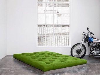 WHITE LABEL - matelas futon coco vert lime 200*200*16cm - Futon