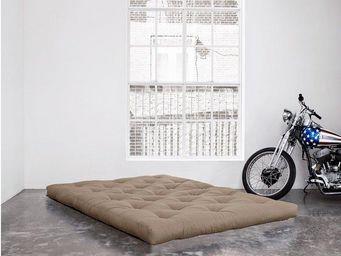 WHITE LABEL - matelas futon coco taupe 200*200*16cm - Futon