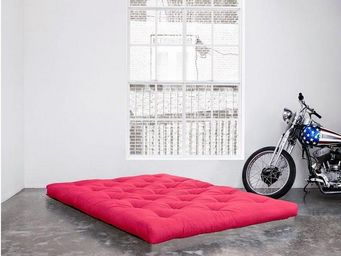 WHITE LABEL - matelas futon double latex rose 140*200*18cm - Futon