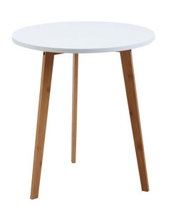 Aubry-Gaspard - table d'appoint ronde en bois et mdf laqué blanc - Table D'appoint