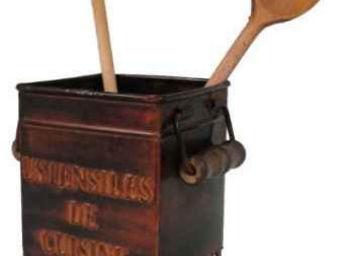 Antic Line Creations - porte ustensiles cuisine métal rouille - Pot À Ustensiles