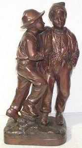 Demeure et Jardin - deux garçons en bronze patiné brun doré - Statuette