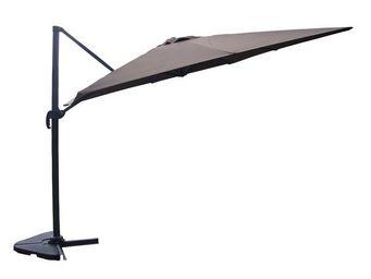 WHITE LABEL - parasol rotatif chocolat 3*3 m - terrine - l 300 x - Parasol Excentré