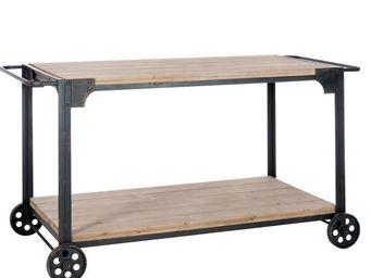 WHITE LABEL - table d\'appoint sur roues bois et métal - dock - - Desserte